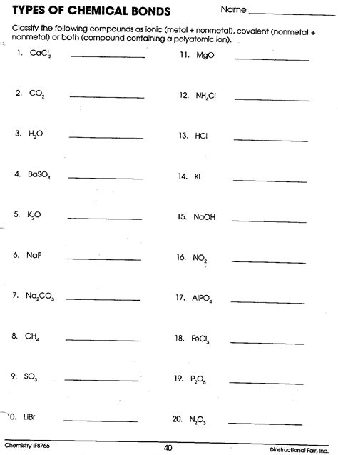 Ionic And Covalent Bonding Worksheet Worksheets For All  Download And Share Worksheets Free