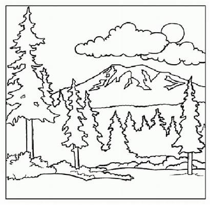 Coloring Mountain Pages Mountains Scenery Printable Children