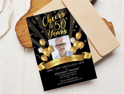 50th Birthday Invitation Black Gold ~ Invitation Templates