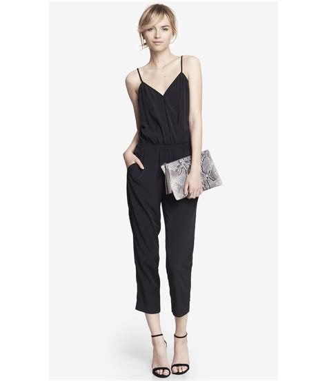 express jumpsuits express crossover cami jumpsuit in black pitch black lyst