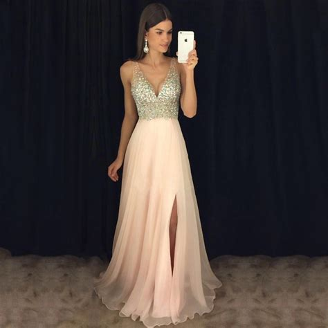 pink prom dresses elegant chiffon  neck long evening