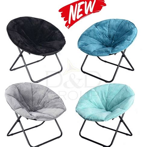 plush saucer folding chair portable students durable soft faux comfort new ebay