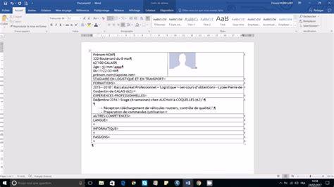 Réaliser Un Cv by R 233 Aliser Un Cv Professionnel En 40 Mn Sur Microsoft Office