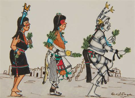miniature painting  san ildefonso pueblo corn dance