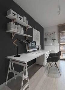 Escrit U00f3rio Moderno Preto E Branco Com Escrivaninha