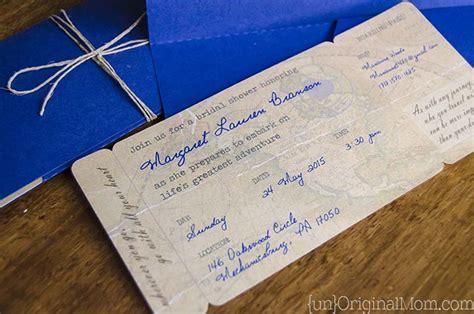 diy boarding pass bridal shower invitations unoriginal