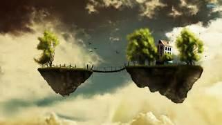 Island Floating bridge dream bokeh fantasy sky fly house trees      Floating House In The Sky