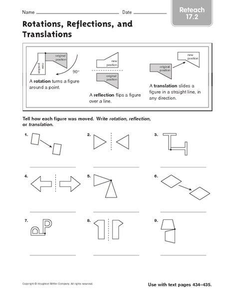 Worksheets Translation Rotation Reflection Worksheet Opossumsoft Worksheets And Printables