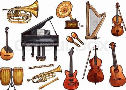 Instruments Musical Vector Concert Clipart Sketch Piano
