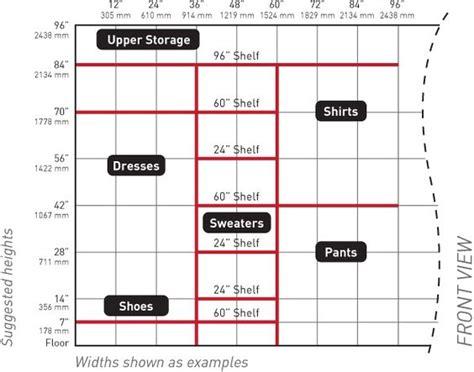rod closet height height of closet chart