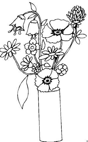 blumen  vase ausmalbild malvorlage jahreszeiten