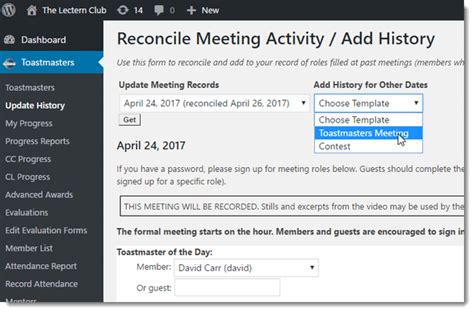 toastmasters save the date template tracking updating member speech and project history