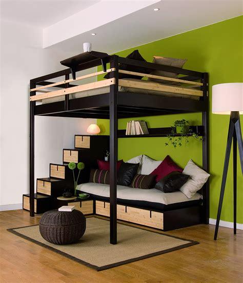 chambre avec lit mezzanine 2 places lit mezzanine adulte avec banquette et escalier rangement