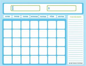 blank chore calendar one month full page blue on light With blank one month calendar template