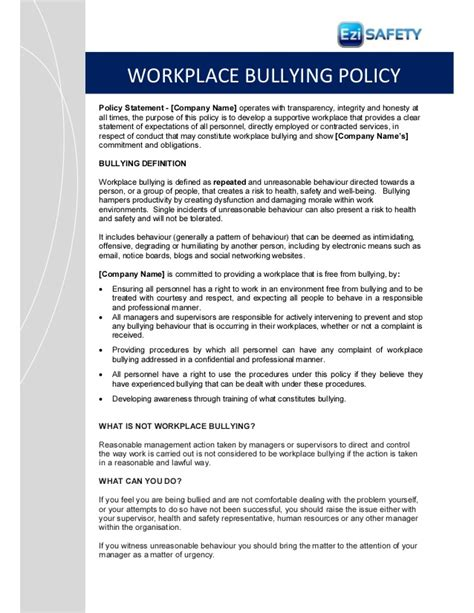 Bullying And Harassment Policy Template Images Template Workplace Bullying Procedure Policy And Forms