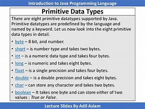 Write A Short Note On Primitive Datatypes In Java