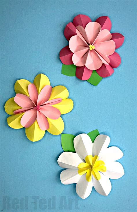 Easy 3d Paper Flowers For Spring  Red Ted Art's Blog