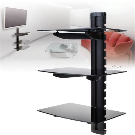 Tv Shelf For Cable Box by 3 Tier Glass Shelf Wall Mount Tv Cable Box Component