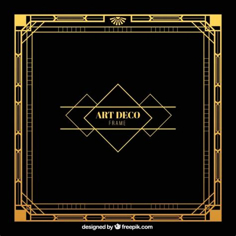 deco graphics free golden frame in deco style vector free