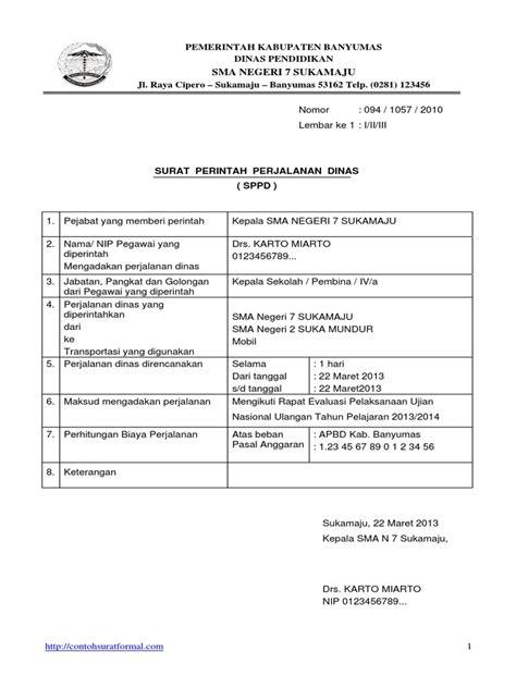 Surat Perintah Perjalanan Dinas by Contoh Surat Tugas Dan Surat Perintah Perjalanan Dinas Sppd