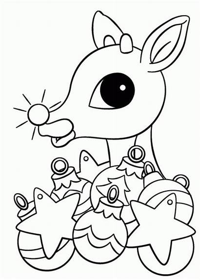 Coloring Rudolph Christmas Pages Reindeer Nosed Drawing