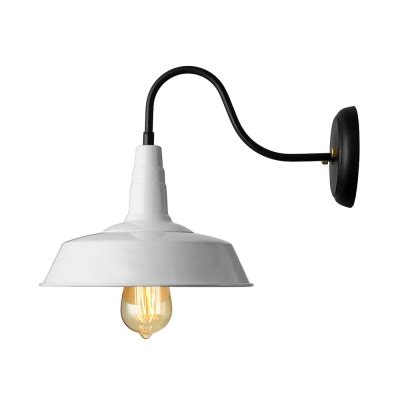 1 light gooseneck barn led wall light indoor wall sconce in white beautifulhalo com