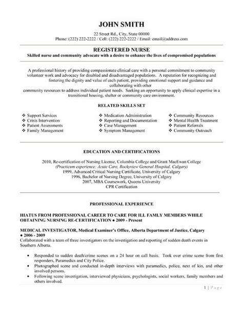Registered Resume Template by Click Here To This Registered Resume