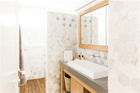 bathroom feature tile ideas this stylish bathroom was created by ayden jess from the block triple threat it features the
