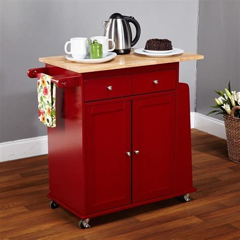 New Kitchen Island Red Utility Cart Rolling Cabinet