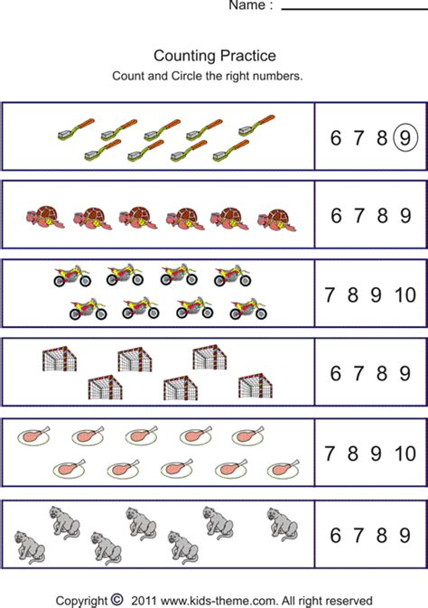 number counting worksheets for kindergarten identify