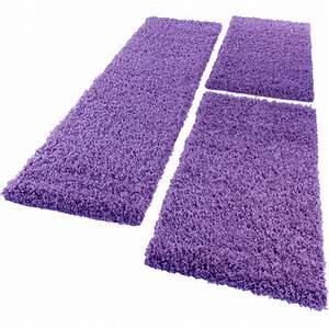 Teppich Läufer Lila : bettumrandung l ufer shaggy hochflor langflor teppich in lila l uferset 3tlg wohn und ~ Markanthonyermac.com Haus und Dekorationen