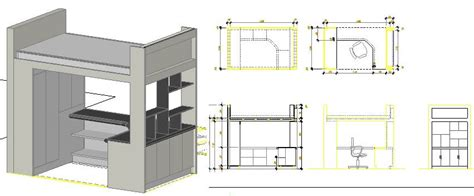 wood bunk bed  autocad  cad   kb