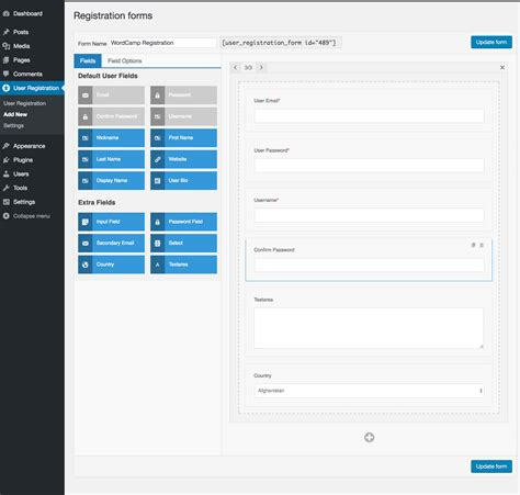 wordpress user registration profile plugins