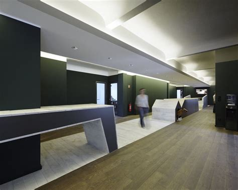 modern office interior design contemporary office interior design hallway with wood flooring green colored walls and