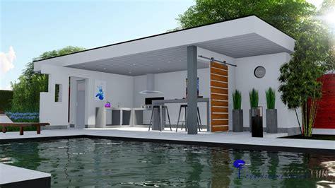 Pool House En Kit Cuisine D 233 T 233 Pool House Contemporain Toit Terrasse Conception Christophe Taurel Pool House
