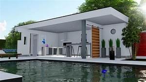 cuisine d39ete pool house contemporain toit terrasse With maison toit plat en l 17 le pool house de piscine