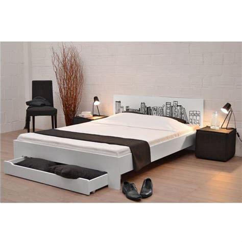 lit laque blanc 160 book lit blanc 160 x 200 cm achat vente structure de lit cdiscount