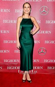 Bust Size Chart Brie Larson Green Satin Cocktail Party Dress Palm Springs