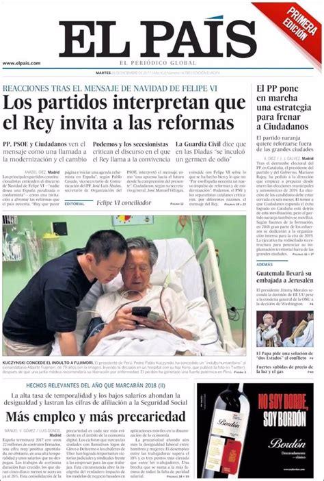 Las portadas de los periódicos de hoy, martes 26 de ...