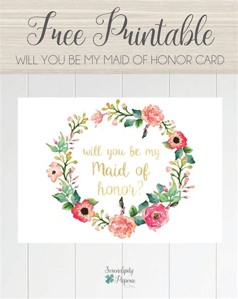 printable     maid  honor card floral