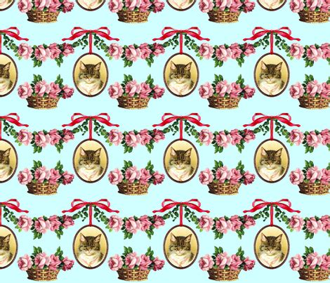 shabby tabbies fabric neoclassical victorian baroque rococo cats swags medallions frames baskets flowers floral roses