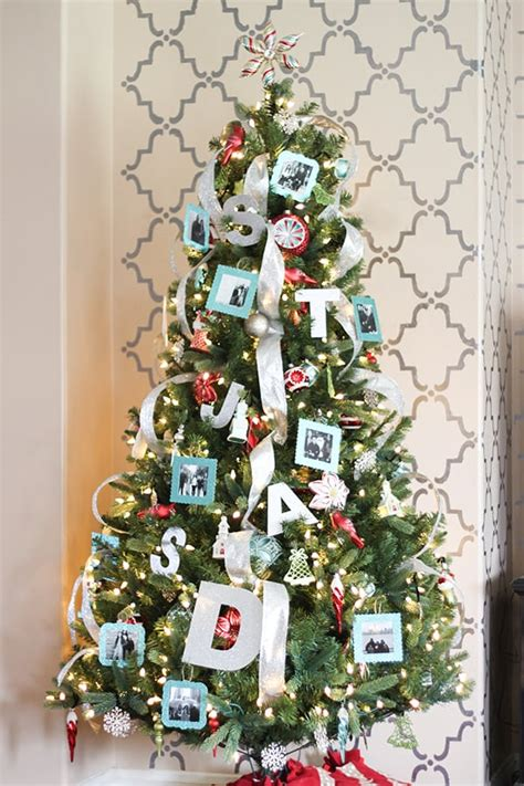 aqua  red personalized christmas tree  diy photo