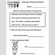 Kindergarten Halloween Reading Worksheet Printable  Free Halloween Worksheets Kindergarten