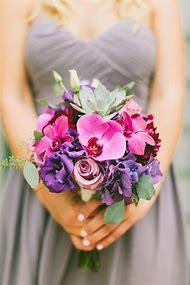 Pink Purple and Orange Wedding Bouquet