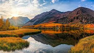 california, lake, mountain, north, and, reflection, of, sunlight