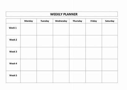 Calendar Monday Weekly Friday Printable Planner Thru