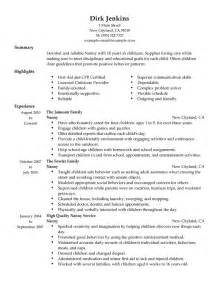 Sle Resume For Nanny by Sle Nanny Resume Ideas Unforgettable 100 Images Caregiver Resume Skills Child Care Provider