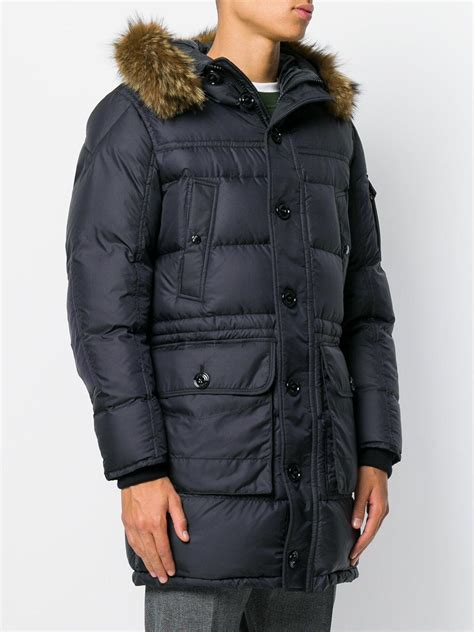 moncler affton  parka  fur hood  black  men lyst