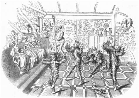 Theatre Court Mummers Harleian Ms Antique Print 1845
