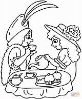 Tea Party Coloring Pages Printable Print Strawberry Birthday Drawing Clipart Teaparty Sip Puzzle Older sketch template